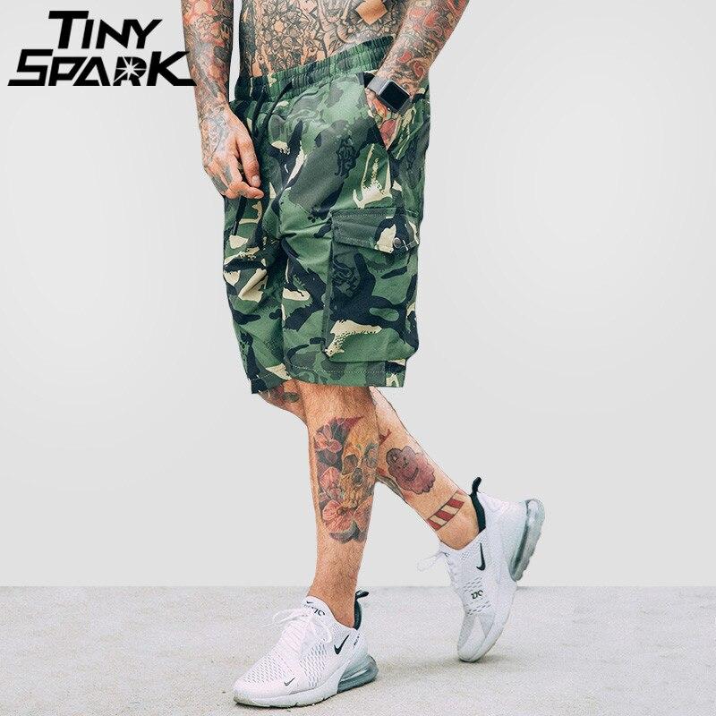 Camo Short Summer 2018 Hip Hop Cargo Short Camouflage Side Pockets Mens Casual Streetwear Shorts Print Elastic Waist Army Green