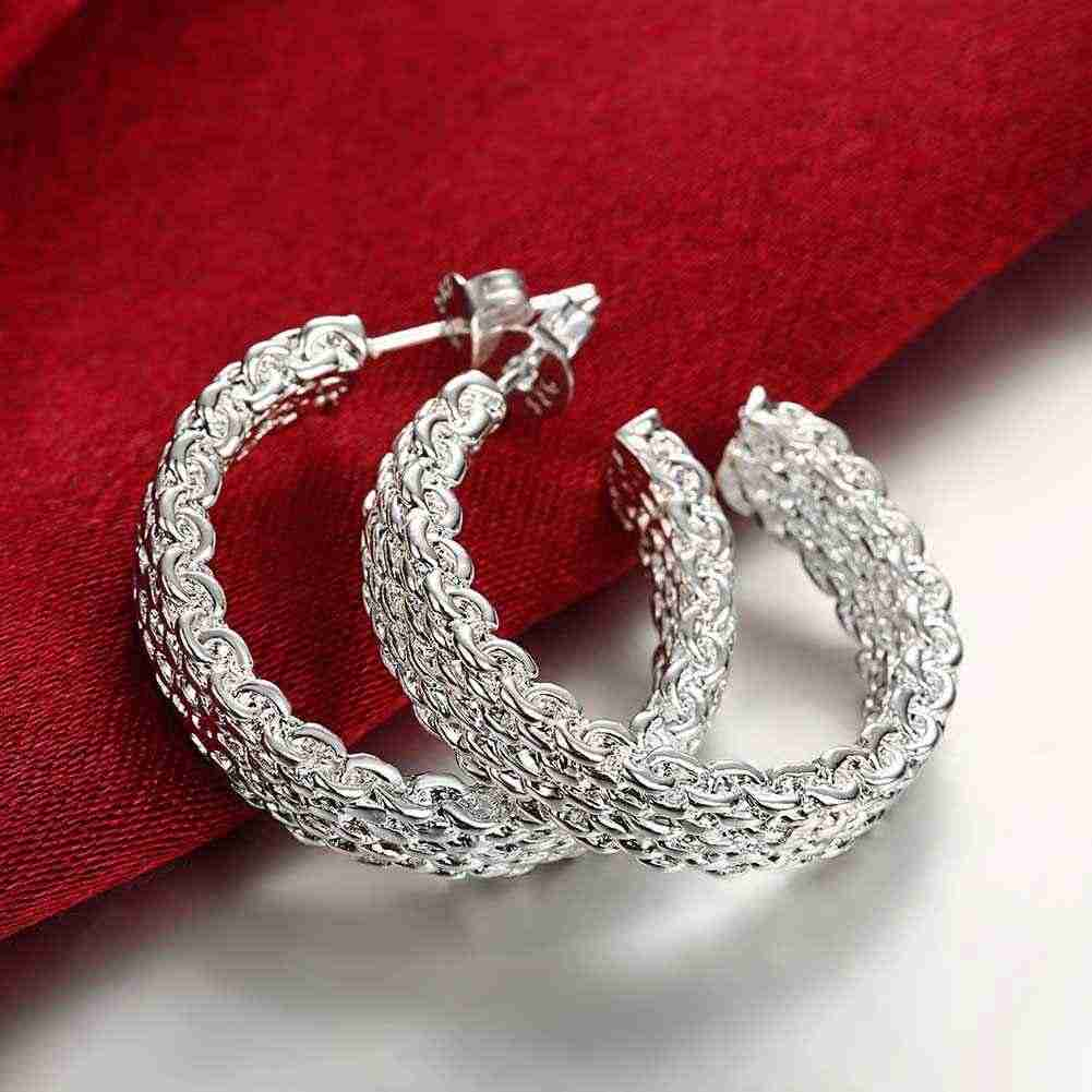 ขายร้อนแฟชั่น 925 เครื่องประดับ silver สีเงินต่างหู Weaved Web stud ต่างหู brincos charms ลอย