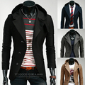 Autumn men's clothing black male slim with a hood fashion personality suit blazer jacket