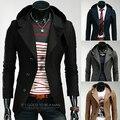Outono dos homens roupa preta masculina slim com um capuz moda personalidade terno blazer jaqueta