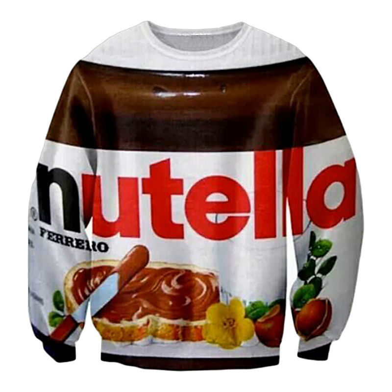 Hot  Autumn Fashion Men 3D Sweatshirts Nutella Spoof Fun Life Like Food Chocolate Sauce Graphic Hoodies Harajuku Loose Sweatwear