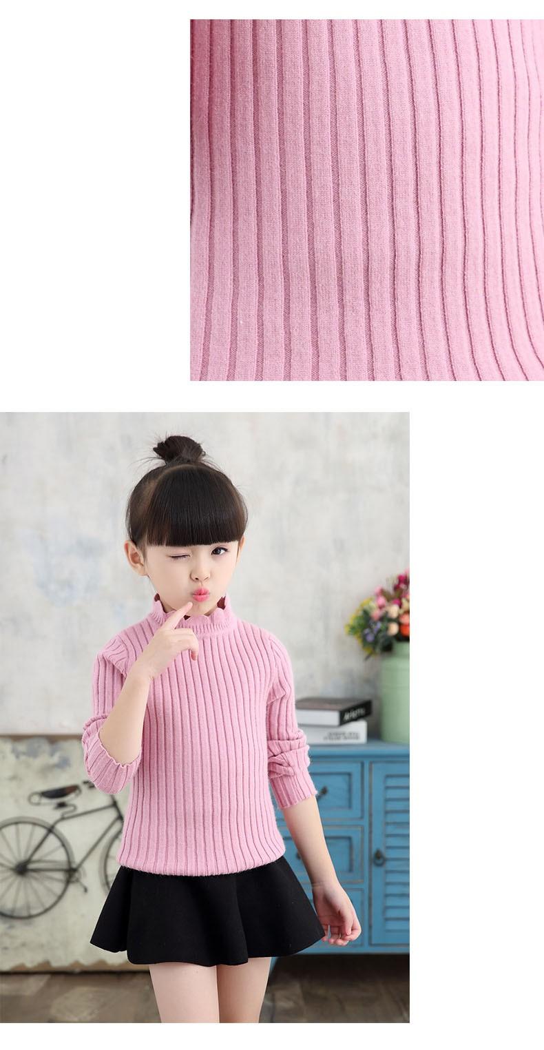 knitting big baby girls sweaters kids winter sweater 2016 long sleeve tops knitted kids sweaters girls pink green black kids top (7)