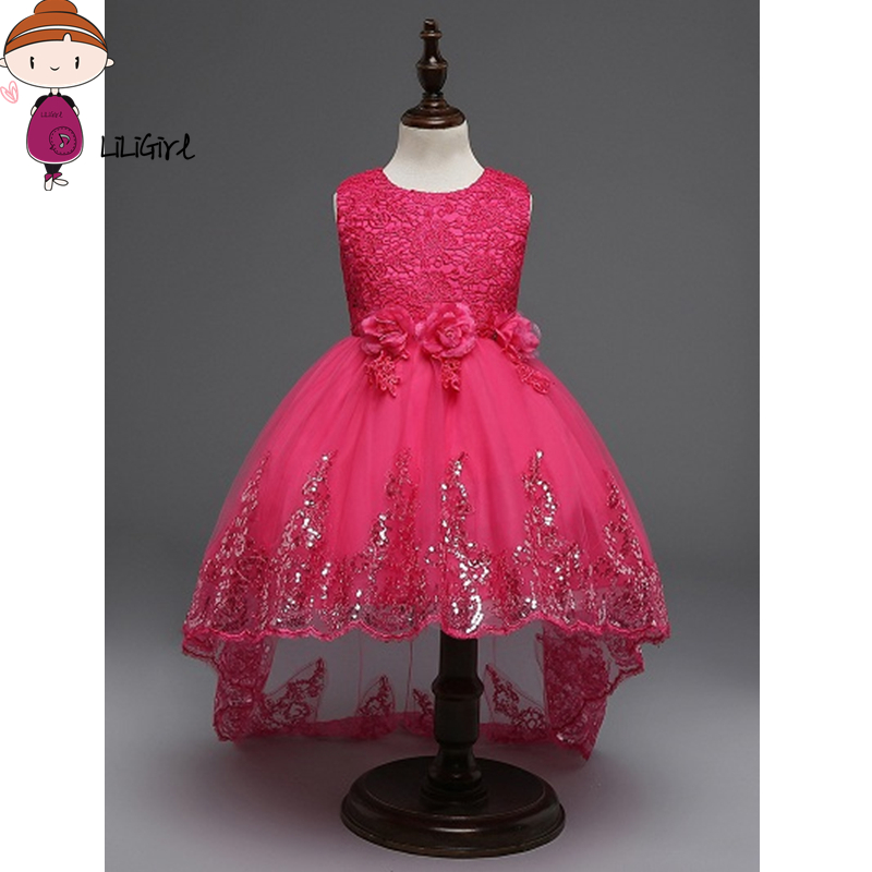 Top Quality Princess Dress For Little Girl Long Dresses Spring New Sequins Ceremonies Wedding Gown Dress Flower Girl Vestidos