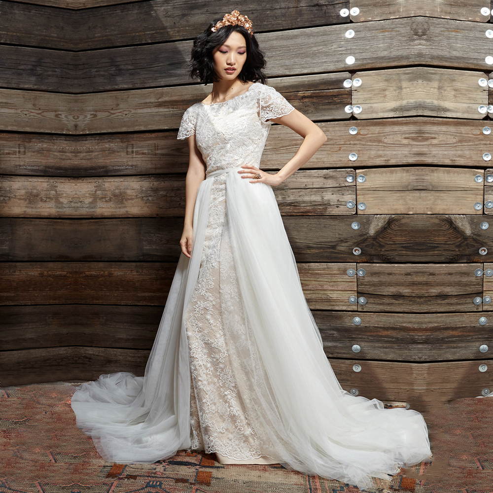Detachable Trains For Wedding Gowns: Romantic Champagne Lace Wedding Dresses With Sleeves Tulle