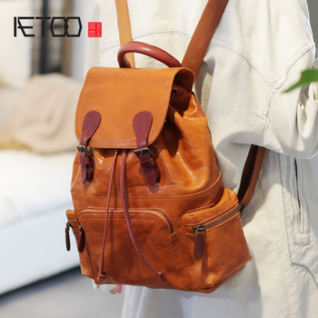 AETOO Head cowhide Retro shoulder bag, college wind soft leather Large capacity literature backpack, female leather bag aetoo original shoulder bag leather retro backpack business computer bag head layer leather travel male bag college wind