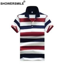 6689f8a31 SHOWERSMILE الأحمر الأزرق مخطط قمصان بولو الرجال الكلاسيكية الصيف تيز زائد  حجم رجل القطن بولو T