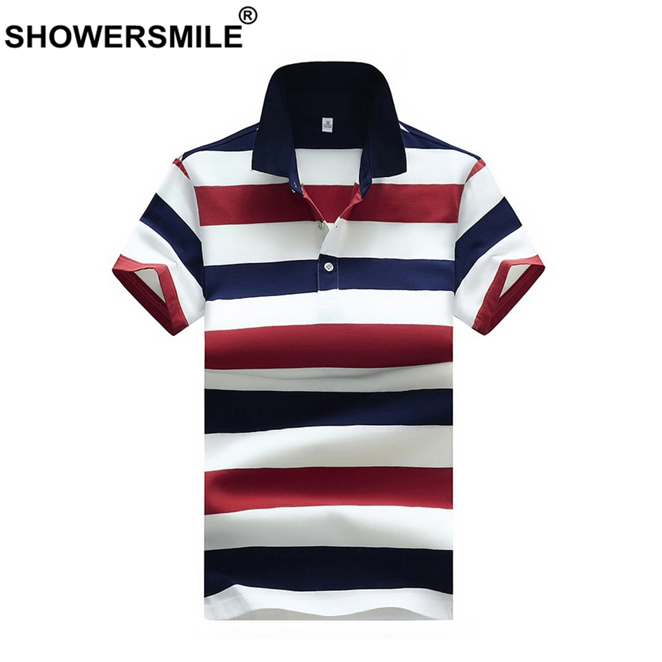 SHOWERSMILE Red Blue Striped   Polo   Shirts Men's Classic Summer Tees Plus Size Man Cotton   Polo   T Male England Style   Polo   Shirt