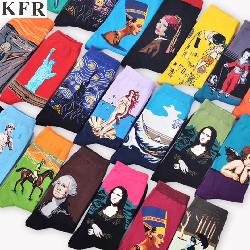 Van Gogh Fashion Art   Socks   Harajuku Cotton Crew Printed Women Men   Socks   short Novelty Funny Painting Character Pattern cute