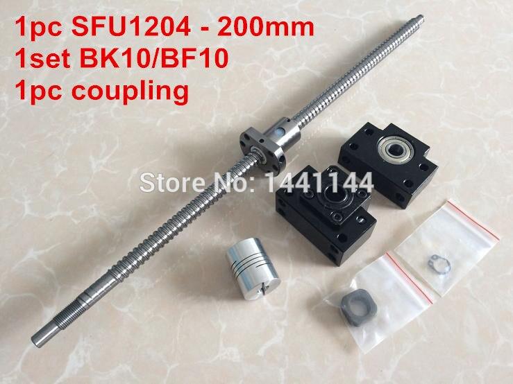 ФОТО 1pcs antibacklash ball screw 1204 - 200mm-C7+ BK/BF10  Support + 1pcs 6.35*8mm coupler
