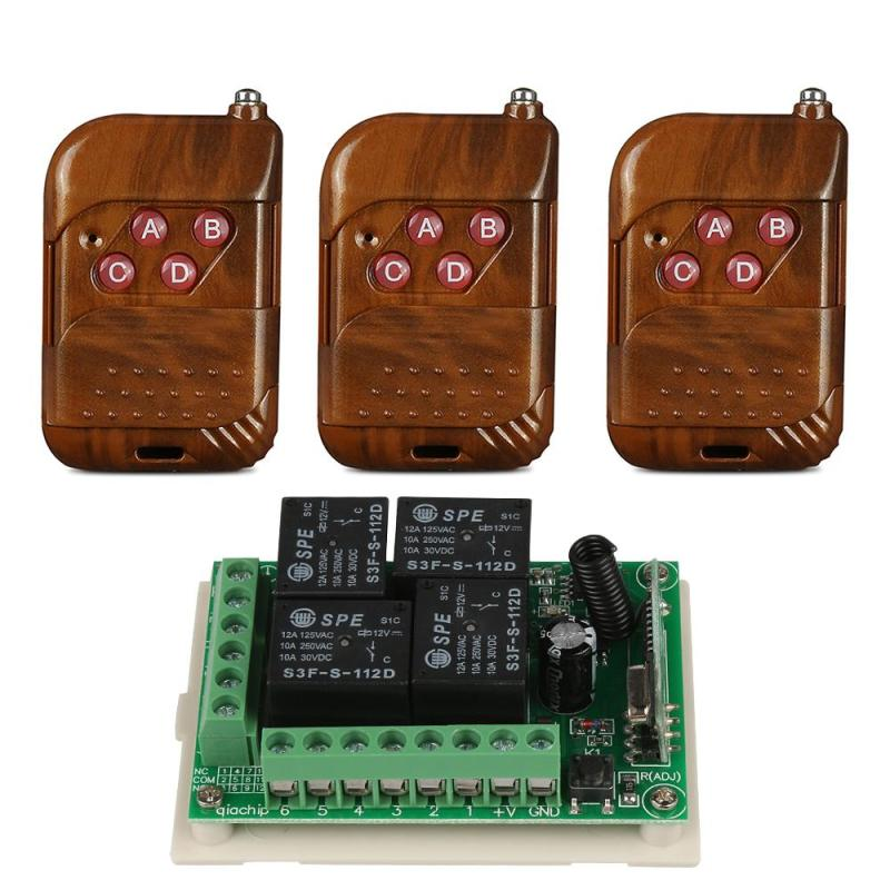 433Mhz Wireless Remote Control Switch DC12V 4CH relay Receiver Module & 3pcs 4 channel RF Remote 433 Mhz Transmitter Z2 dc12v 2 channel rf transmitter receiver wireless output gsm controler 433mhz relay controller learning code wall remote switch