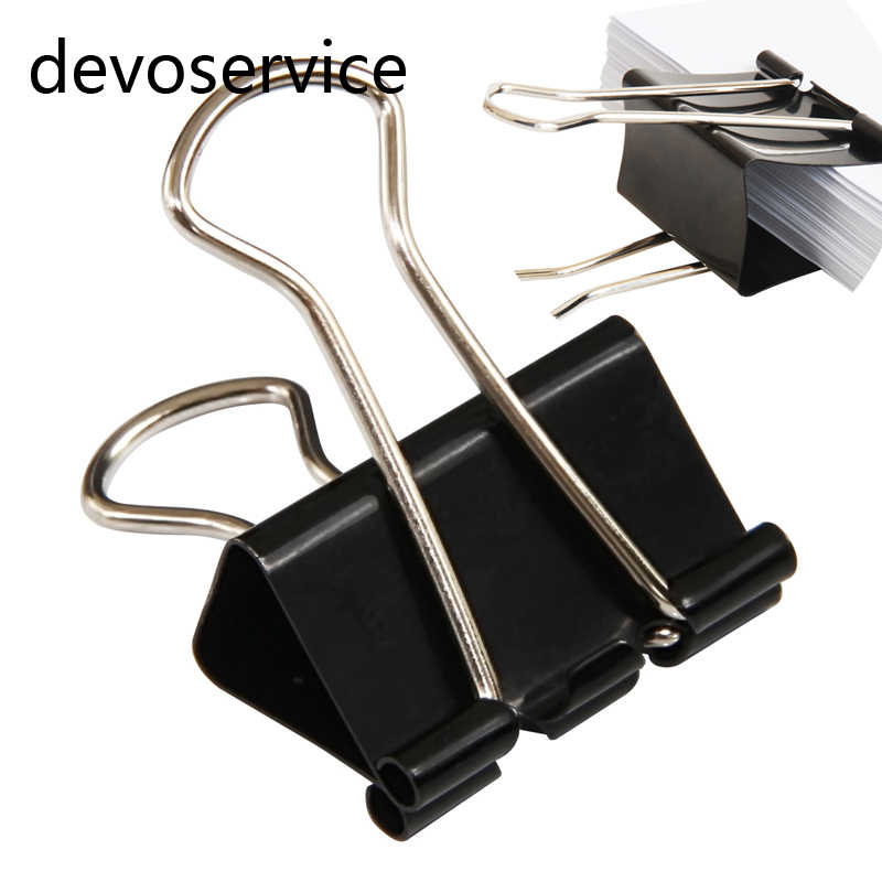 6PCS Metal Clips Paper Clip 41MM Office Learning School Supplies Stationery Binding Supplies Files Documents Black Binder Clips