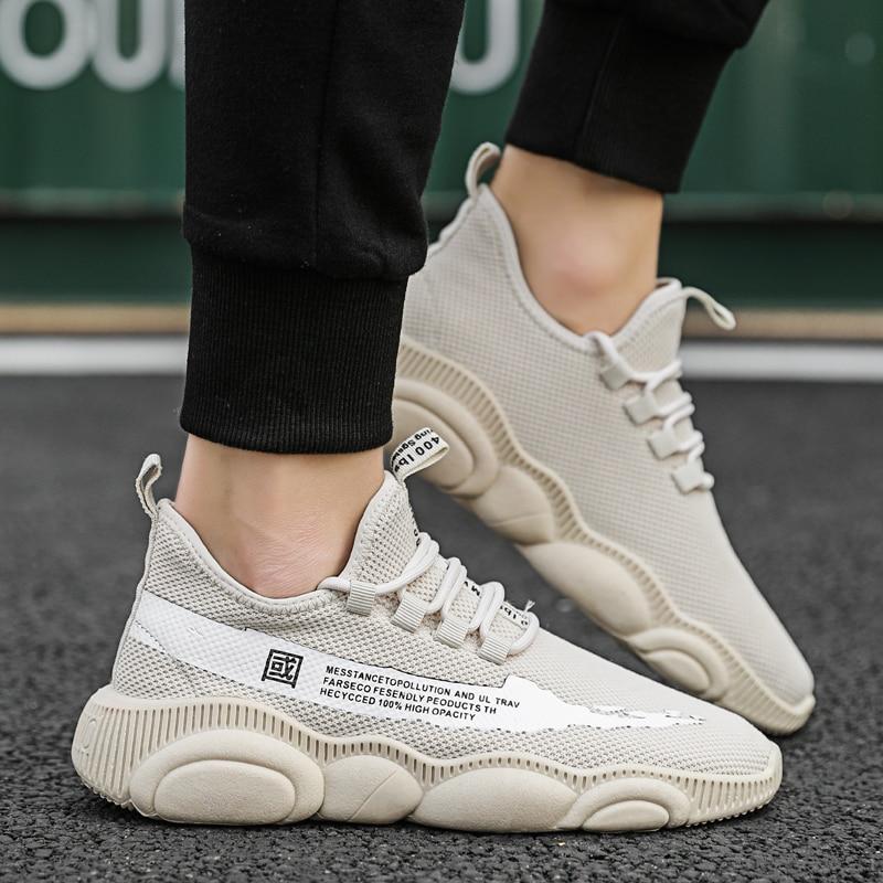 100% Wahr 2019 Sommern Männer Mode Turnschuhe Flyknit Air Mesh Flache Schuhe Lace Up Casual Non-slip Atmungs Licht Laufschuhe Schuhe Für Männer