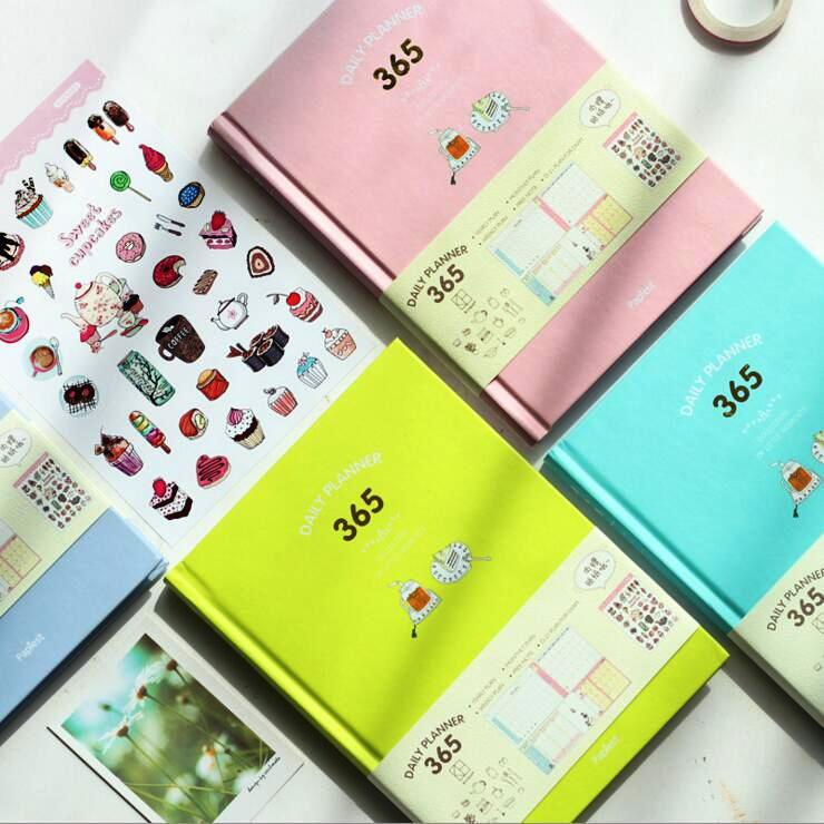 """""""candy 365"""" Any Year Weekly Monthly Planner Cute Notebook Study Journal Hard Cover Stationery Gift Strengthening Sinews And Bones"""
