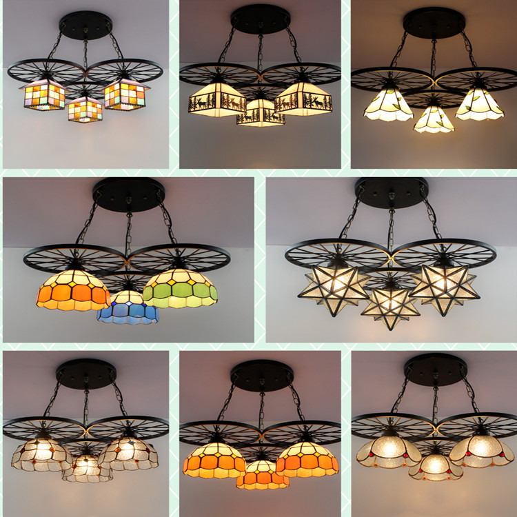 Loft wrought iron wheels retro chandelier Tiffany restaurant bar coffee shop children's room bedroom 3 heads lamps ZA8312