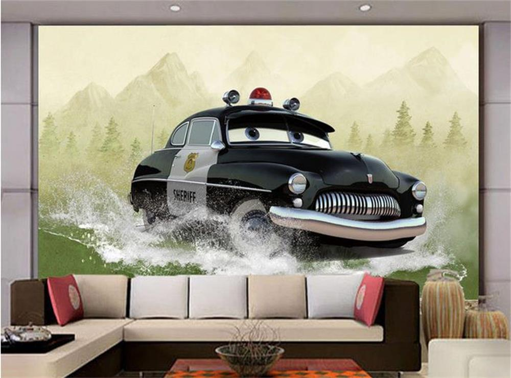 3D wallpaper/custom photo wall paper/Three-dimensional animated cartoon car/TV/sofa/Bedroom/KTV/Hotel/living room/Children room free shipping cartoon pattern wallpaper leisure bar ktv lounge living room sofa children room background comics wallpaper mural
