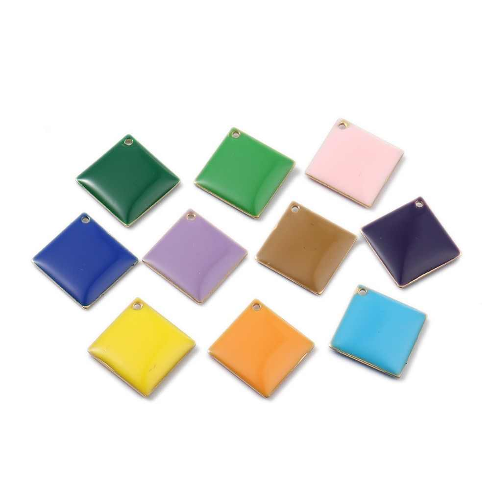 DoreenBeads แฟชั่นทองแดงเคลือบ Sequins จี้ Rhombus ทองเหลืองเครื่องประดับที่มีสีสัน DIY Charms 21 มม. x 21 มม., 10 PCs