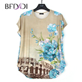 BFDADI 2017 Novas Flores do Verão As Mulheres Casuais T-Shirt Em Torno do pescoço morcegos de manga curta women clothing t camisa plus size tees 1658