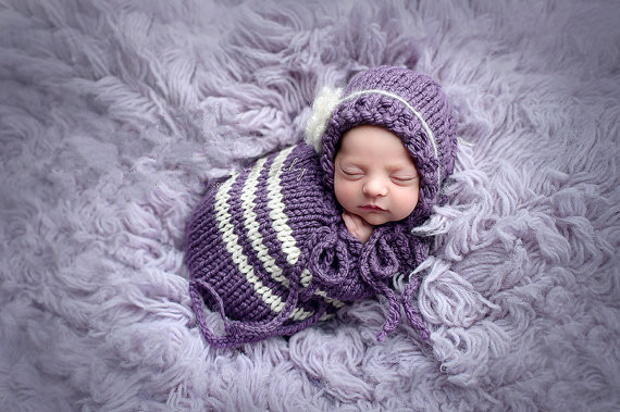 new design handmade kintting baby sleeping bag. Baby Photo Props Costume, newborn purple elf hat and matching sleeping bag set