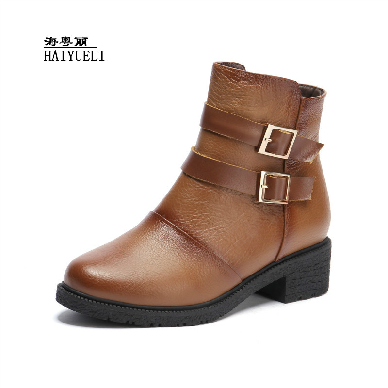 Top Product Women Shoes Genuine Leather Pure Handmade Ankle Boots Martin Boots Autumn Winter Boots fanyuan pu leather shoes women ankle boots autumn thick high heel martin boots zip winter handmade leather shoes boot blac