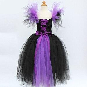 Image 2 - Юбка пачка Maleficent of evil queen для девочек, платье с рожками, костюм ведьмы на Хэллоуин для косплея для девочек, Детские праздники