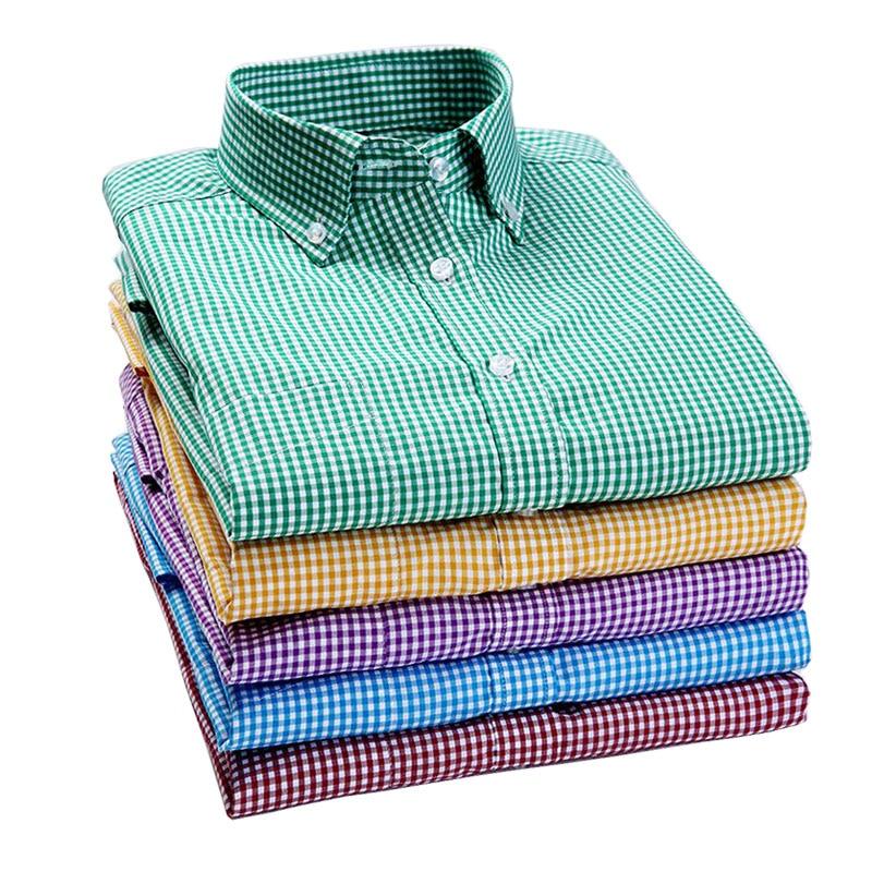 2019 New Men Plaid Shirt High Quality 100% Cotton Button-Down Collar Long Sleeve Men Dress Shirts Social Business Casual Shirt
