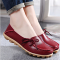 New Women Real Leather Shoes Moccasins Mother Loafers Soft Leisure Flats Female Driving Casual Footwear Size 34-44 In 15 Colors