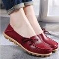 Novas Mulheres de Couro Reais Sapatos Mãe Mocassins Mocassins Macios Apartamentos de Lazer Feminino Condução Calçados Casuais Tamanho 34-44 Em 15 Cores