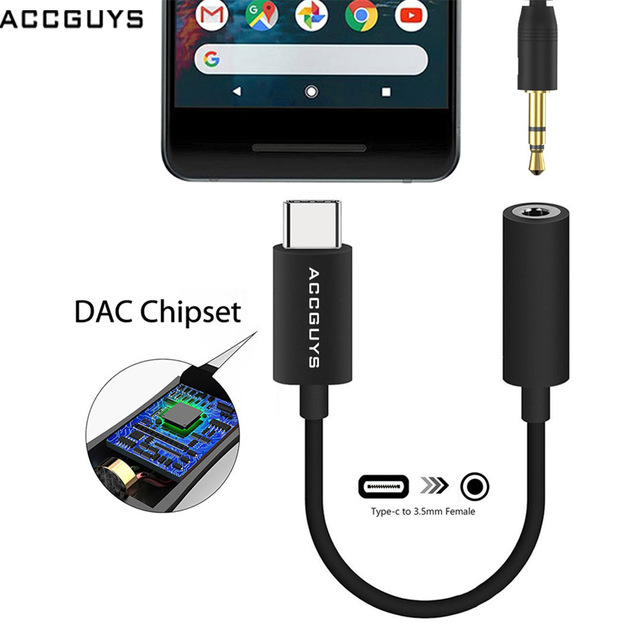 b2ddb62d0e2 ACCGUYS Type C to 3.5mm Earphone Jack Aux Cable Audio Call Adapter 192KHZ  DAC Converter For Pixel 2/2XL/3/3XL/HTC U11/Huawei P20