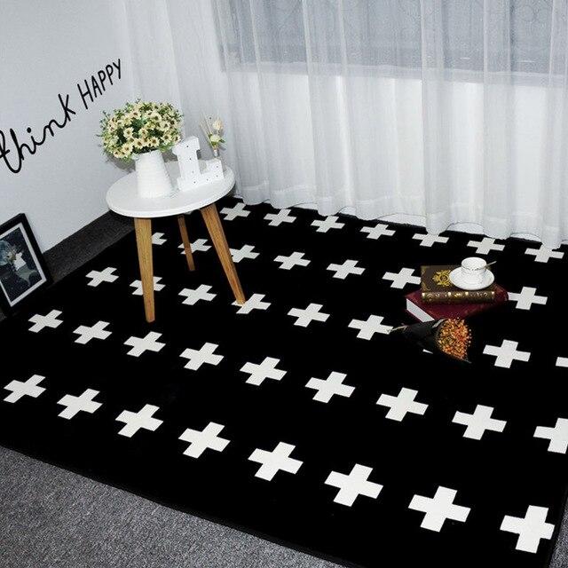 Mode Noir Blanc Croix Salon Chambre Décoratif Tapis Zone tapis Sol ...