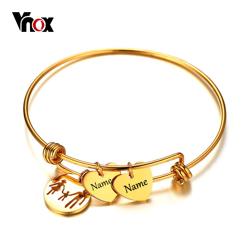 Vnox Name Engraving Charms Bracelet Bangle for Women Gold Color Stainless Steel Female Jewelry Personalized Mother's Day Gift цена