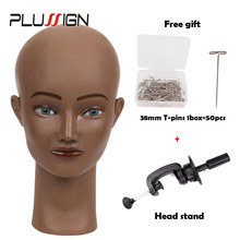 Black Skin White Skin Bald Mannequin Head For Wig Hat Display Salon Female Manikin Model Bald Traning Head For Wig Making(China)