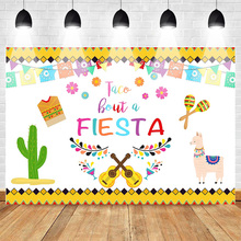 Mehofoto Mexican Fiesta Theme Backdrop Birthday Party Alpaca Guitar Cactus Photo Background Colorful Flags Floral Backdrops