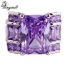lingmei Wholesale Noble Unisex Purple AAA Cubic Zirconia Silver Color Ring Size 6 7 8 9 10 11 12 13 Women Fashion Jewelry
