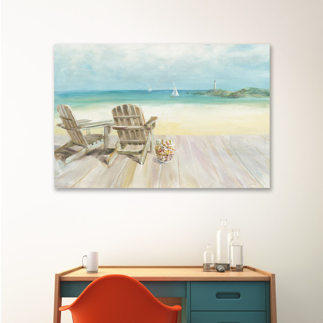 Chaise longue or deck chair on seaside beach giclee printed canvas art painting seaside house