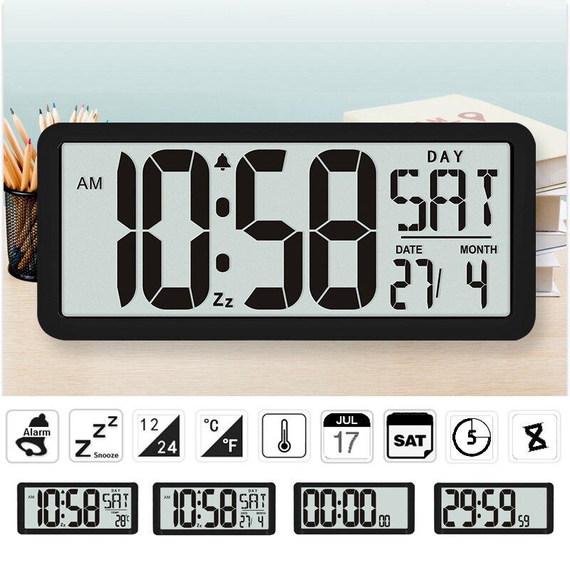 TXL Square Wall Clock Series 13 8 Large Digital Jumbo Alarm Clock LCD Display multi functional