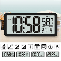 TXL Square Wall Clock Series, 13.8 Large Digital Jumbo Alarm Clock, LCD Display, multi functional upscale office decor desk