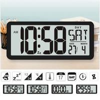 TXL Square Wall Clock Series, 13.8 Large Digital Jumbo Alarm Clock, LCD Display, multi functional upscale office decor desk