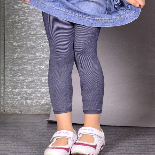 high quality Baby jeans kids soft high elasticity jeans  girls strip knitted leggings  kids novelty casual leggings