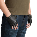 Kursheuel Men Gloves Nappa Soft Suede Fingerless Leather Gloves Women Sheepskin Gloves Ku-082