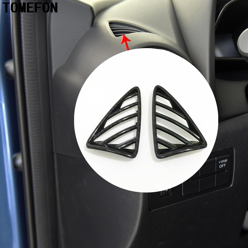 TOMEFON For <font><b>Mazda</b></font> CX-3 <font><b>CX3</b></font> 2015 <font><b>2016</b></font> 2017 2018 ABS Front Upper Interior AC Decorative Frame Moulding Air Condition Cover 2pcs image