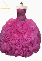2018 Sexy Pink Quinceanera Dresses Ball Gown with Lace Up Organza Beading Ruffles Sweet 15 Dress Vestidos De 15 Prom Gowns QA733