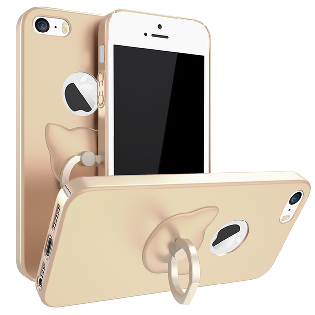 30b87d7153e Marca de moda metal gato anillo soporte Fundas para móviles para iPhone 5  coque contraportada para
