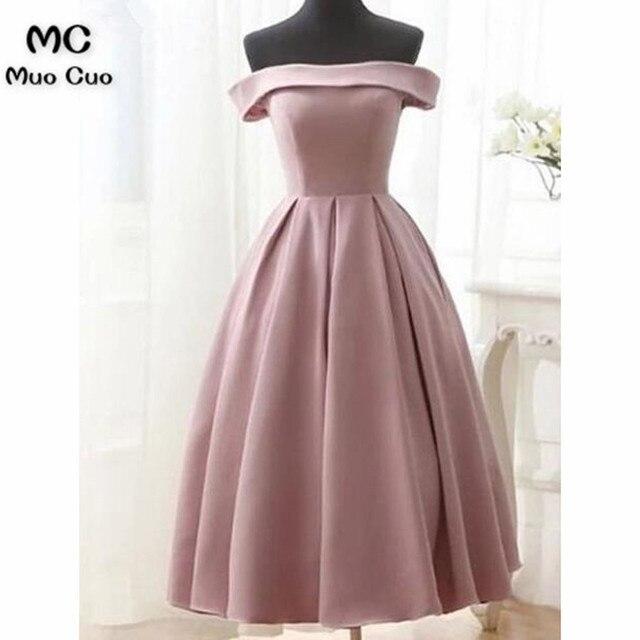00a5e5807a 2018 Dark Pink Off Shoulder Evening Party Dress Tea Length Short Sleeves  Satin Wedding Party Dress Woman Formal evening Dresses