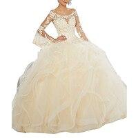 Женское платье с длинным рукавом для выпускного вечера, недорогое кружевное платье вечерние с бусинами и оборками, праздничное платье цвет