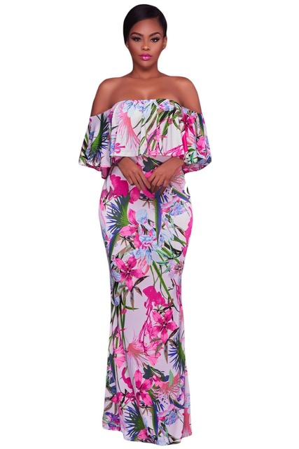 444b04f30f Sexy Off Shoulder Maxi Dresses Summer White Pink Floral Print Boho Long  Beach Plus Size XL Dresses Vestidos Mujer Robes Longos