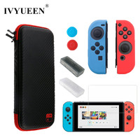 IVYUEEN Carbon Fiber For Nintend Switch NS Storage Bag Waterproof With Screen Protector Silicone Case For