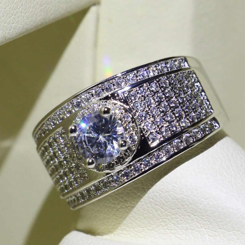 7 рядов проложить 5A кубического циркония потрясающий уникальный ювелирных изделий 925 пробы Серебряная круглой формы микро обручальное кольцо с фианитами кольцо для Для женщин подарок
