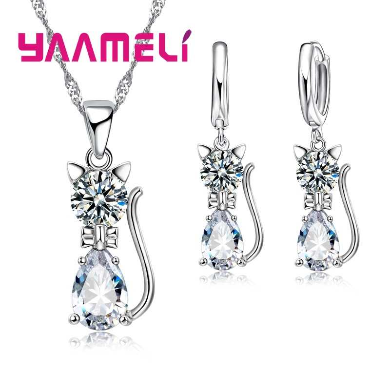 Genuine High Quality 925 Sterling Silver Jewelry Set Clear CZ Cubic Zircon Cat Necklace Earrings Pendant For Women