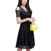 2017 Summer Dress Women Off Shoulder V Neck Short Sleeve Black White Lace Dresses Plus Size