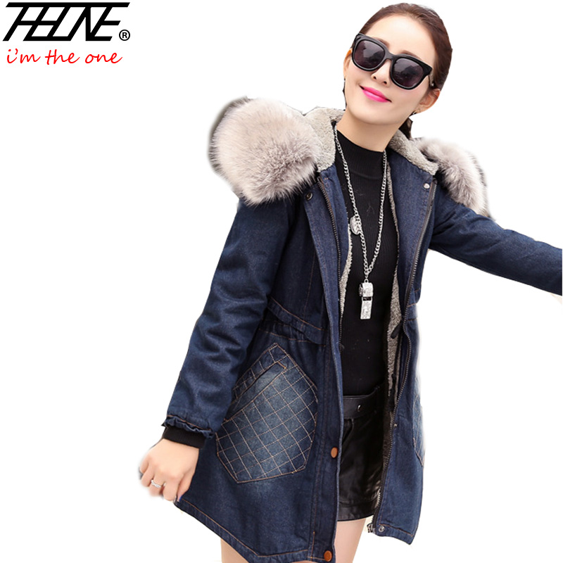Winter Jacket for Women Denim Coat Big Faux Fur Collar Hooded Thick Padded Fleece Plus Size Fashion Women's Jeans Jackets Female цена 2017
